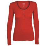 Super natural w base button henley rib 165 warm red